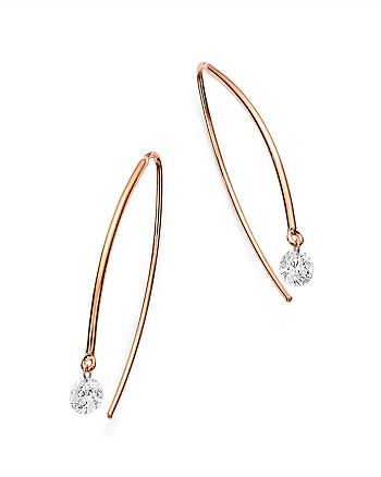 AeroDiamonds - 18K Rose Gold Solo Diamond Threader Earrings