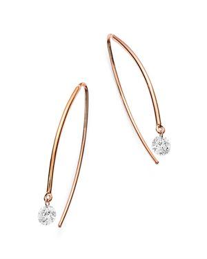 AERODIAMONDS 18K ROSE GOLD SOLO DIAMOND THREADER EARRINGS