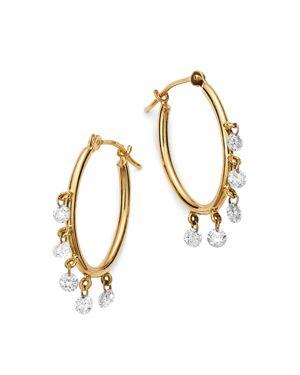 AERODIAMONDS 18K YELLOW GOLD SHIMMY SHAKES DIAMOND OVAL HOOP EARRINGS