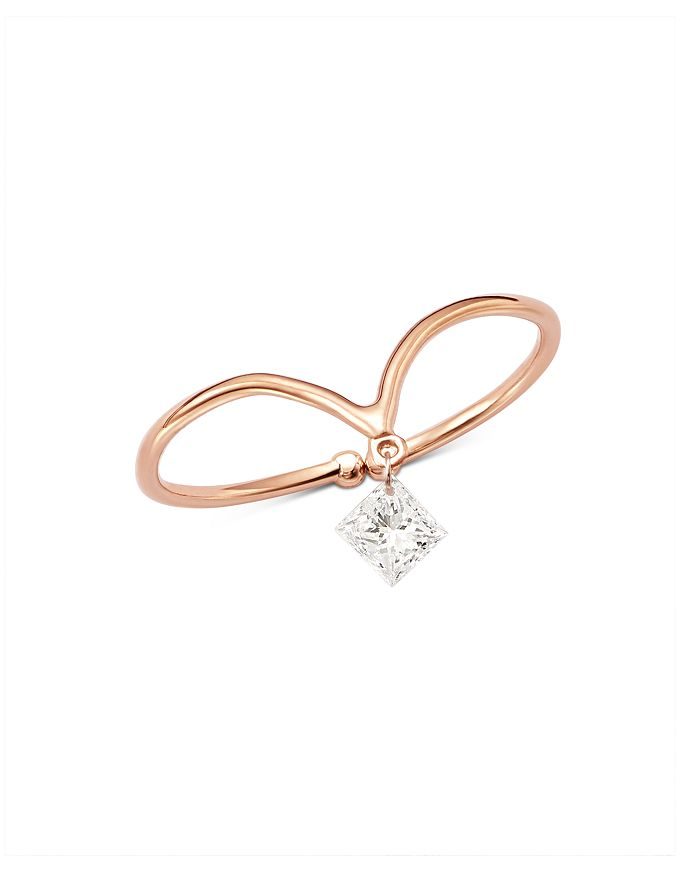 AeroDiamonds - 18K Rose Gold Victoria Solo Princess-Cut Diamond V-Ring