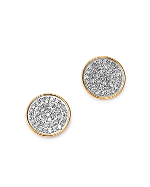 Adina Reyter 14K Yellow Gold Pave Diamond Large Disc Stud Earrings