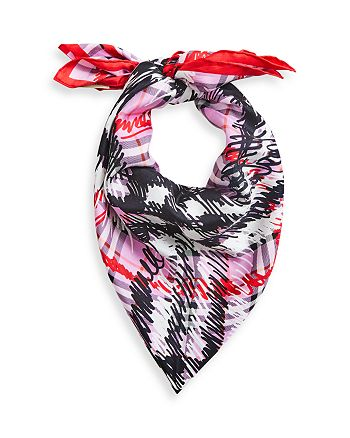 Burberry - Scribble Check Silk Square Scarf
