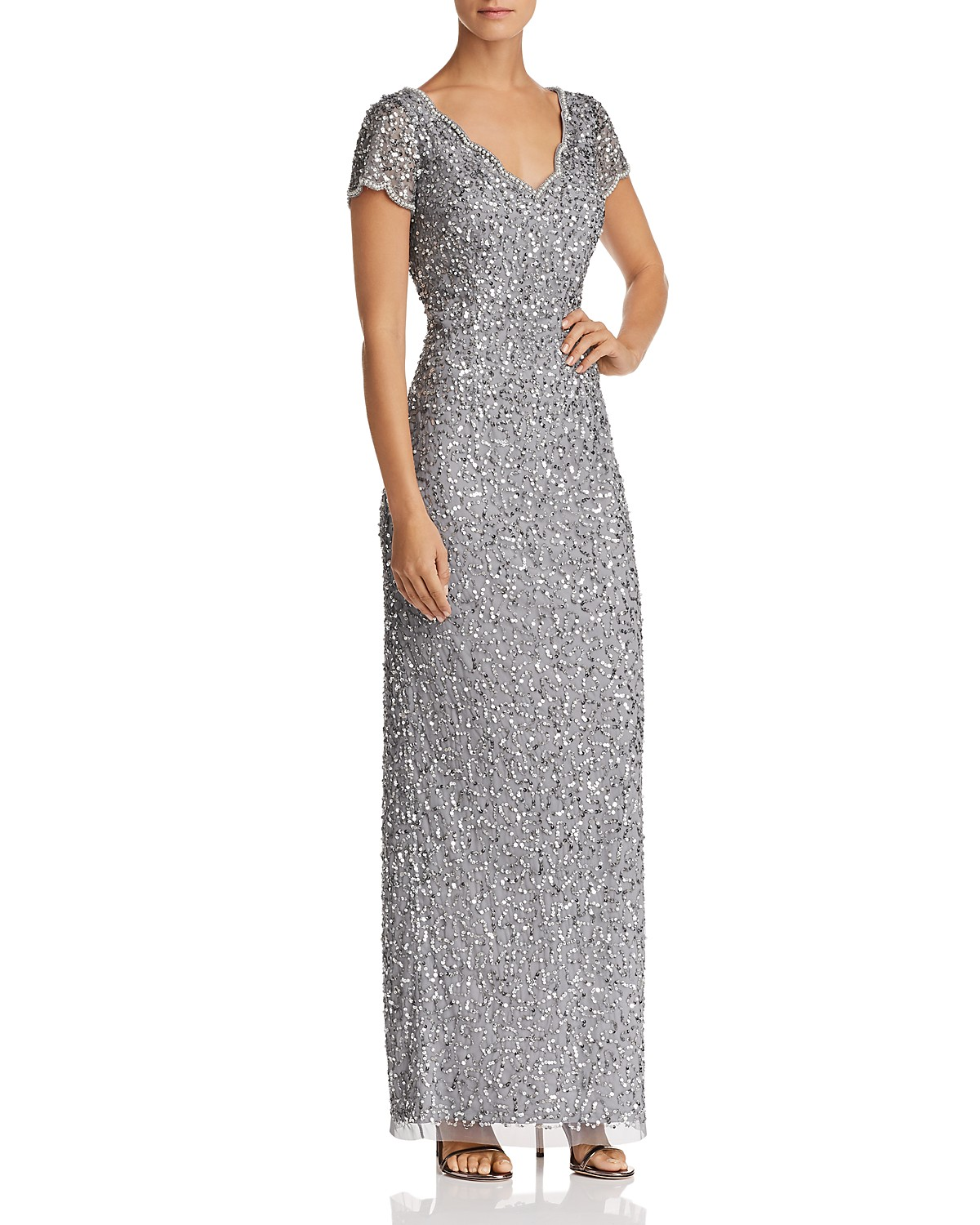 Adrianna Papell Short-Sleeve Beaded Gown | Bloomingdale\'s