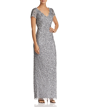 Adrianna Papell Short-Sleeve Beaded Gown