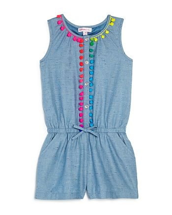 Design History - Girls' Pom-Pom Denim Romper - Little Kid
