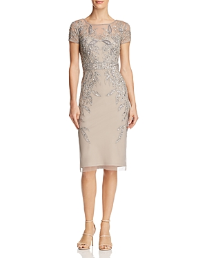Adrianna Papell Leafy Embellished Cocktail Dress