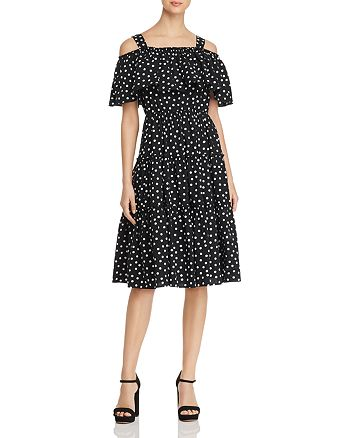 Vero Moda - Loka Polka-Dot Cold-Shoulder Dress