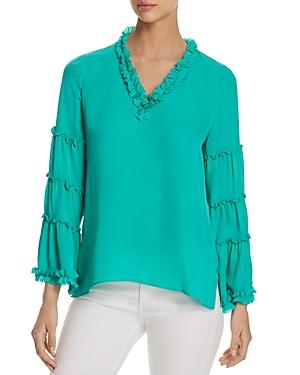 Kobi Halperin Dahlia Tiered-Sleeve Silk Blouse