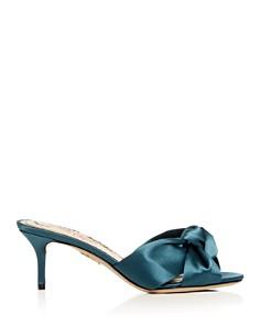 Charlotte Olympia - Women's Lola Satin Kitten Heel Slide Sandals