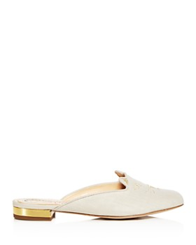 Charlotte Olympia - Women's Kitty Embroidered Linen Mules
