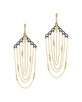 Armenta - Blackened Sterling Silver & 18K Yellow Gold Old World Crivelli Champagne Diamond Chain Chandelier Earrings
