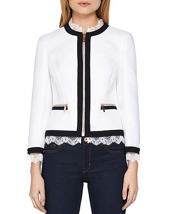 7ac9101aa0cf4 Ted Baker - Ennio Lace-Trimmed Crop Jacket