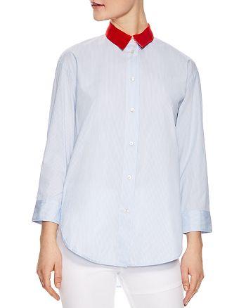 Sandro - Effie Striped Silk-Collar Shirt