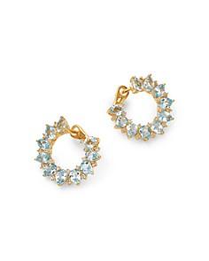Kiki McDonough - 18K Yellow Gold Juno Blue Topaz & Diamond Sunflower Earrings
