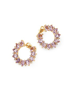 Kiki McDonough - 18K Yellow Gold Juno Amethyst & Diamond Sunflower Earrings