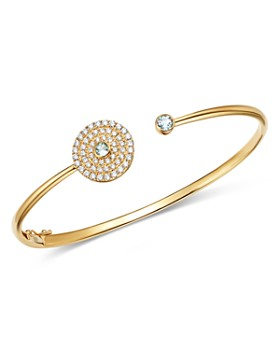 Kiki McDonough - 18K Yellow Gold Fantasy Blue Topaz & Diamond Open Cuff Bracelet