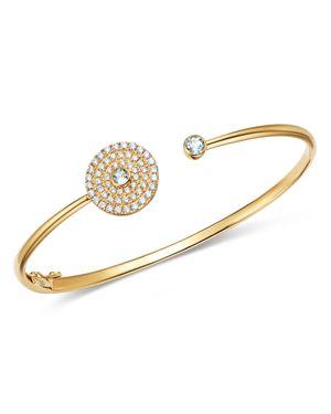 Kiki McDonough 18K Yellow Gold Fantasy Blue Topaz & Diamond Open Cuff Bracelet