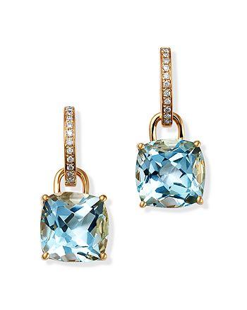 Kiki McDonough - 18K Yellow Gold Classics Cushion-Cut Blue Topaz & Diamond Drop Earrings