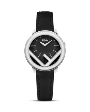 Run Away Leather Strap Watch, 28Mm in Black