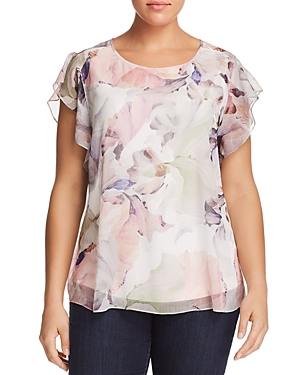 New Vince Camuto Plus Floral-Print Flutter Top, New Ivory