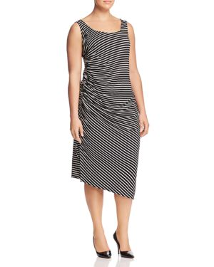 Vince Camuto Plus Stripe-Print Ruched Dress 2909166