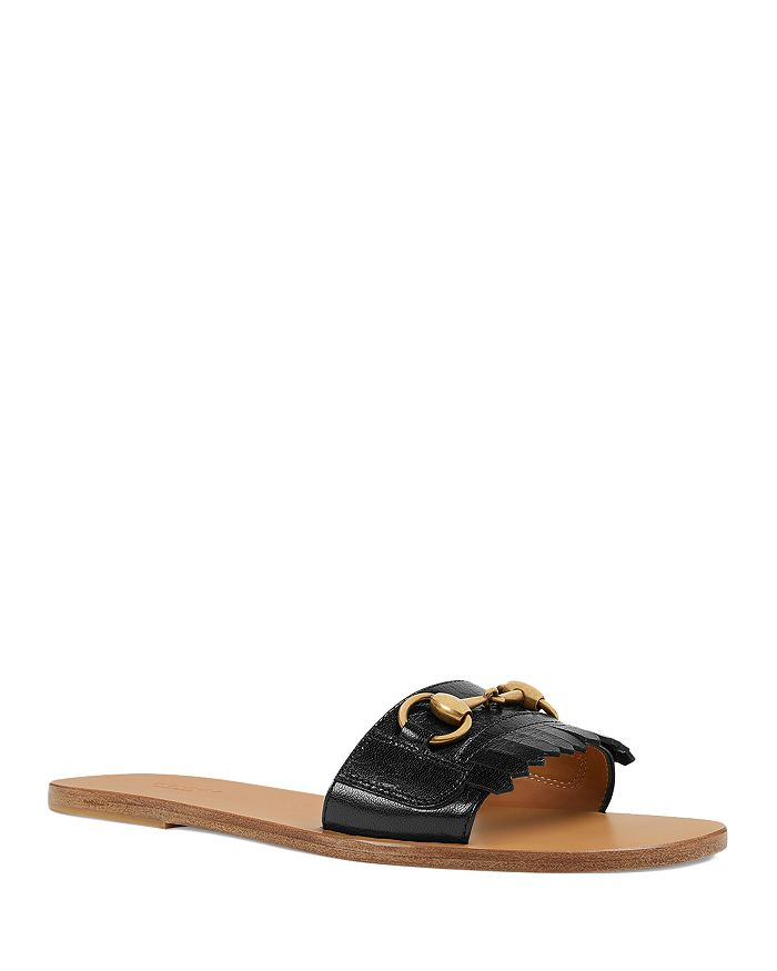 Gucci - Women's Fringe Leather Slide Sandals