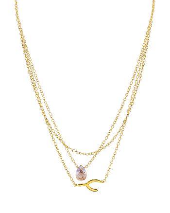 """Ela Rae - Layered Wishbone Charm Necklace, 16"""""""
