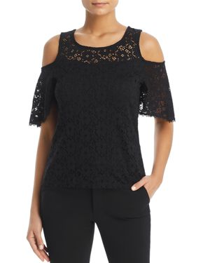 RED HAUTE LACE COLD-SHOULDER TOP
