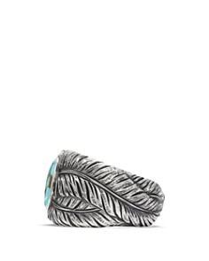 David Yurman - Southwest Cigar Band Feather Ring with Turquoise