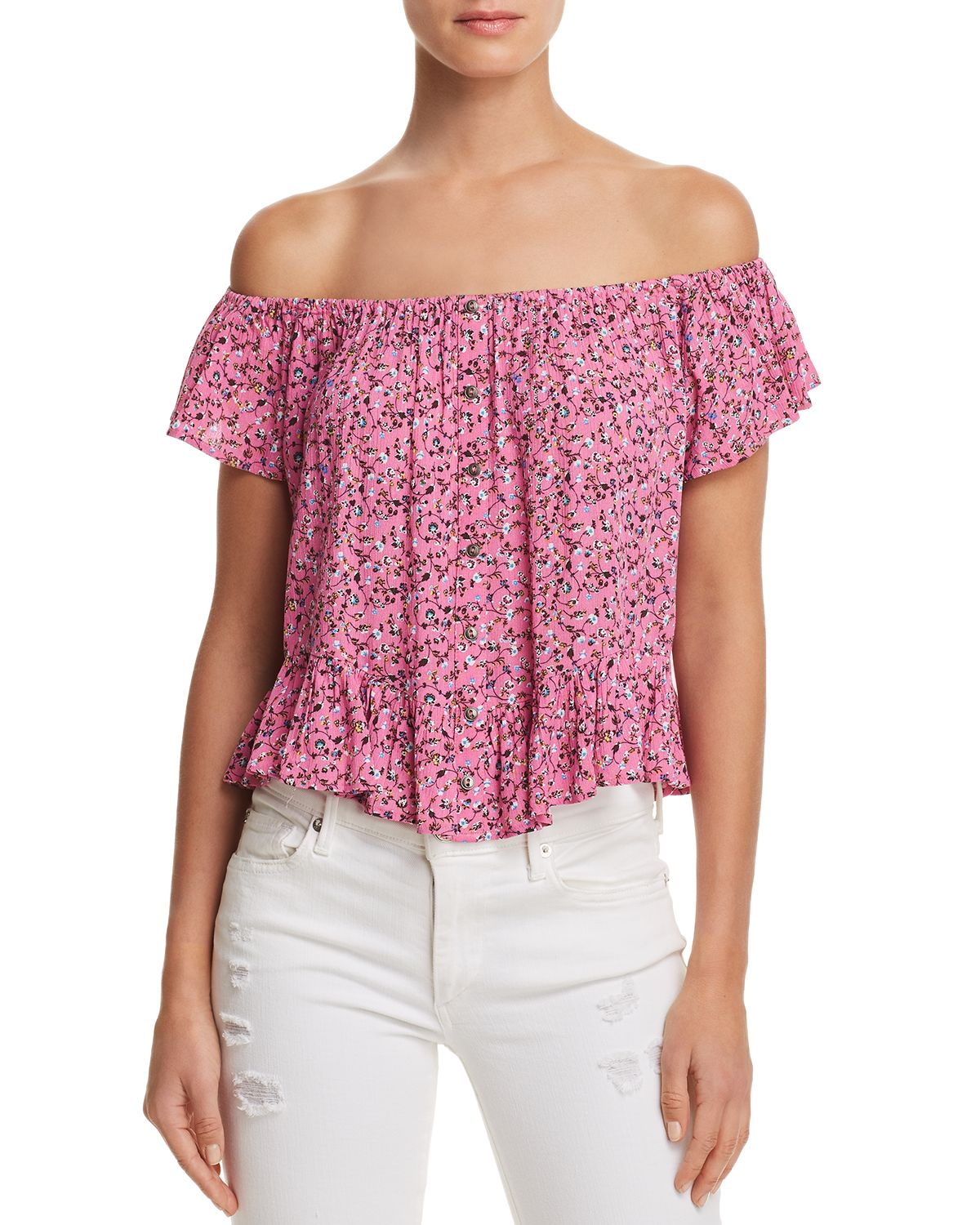 Ditsy Floral Print Off The Shoulder Top   100 Percents Exclusive by En Créme