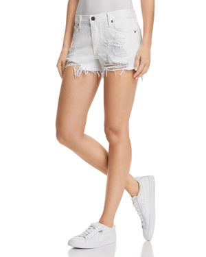 PISTOLA ASHER GIRLFRIEND DISTRESSED DENIM SHORTS IN WHITE LIES
