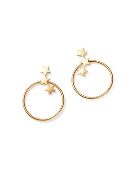 Moon & Meadow - 14K Yellow Gold Polished Star Front Hoop Drop Earrings - 100% Exclusive
