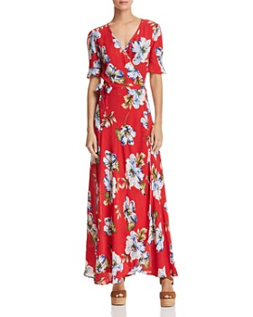 Band of Gypsies - Blue Moon Floral-Print Wrap Dress