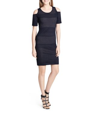 Calvin Klein Cold-Shoulder Perforated Bodycon Dress 2899566