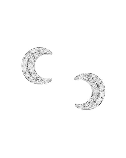 Bloomingdale's - Diamond Moon Stud Earrings in 14K White Gold, 0.10 ct. t.w. - 100% Exclusive