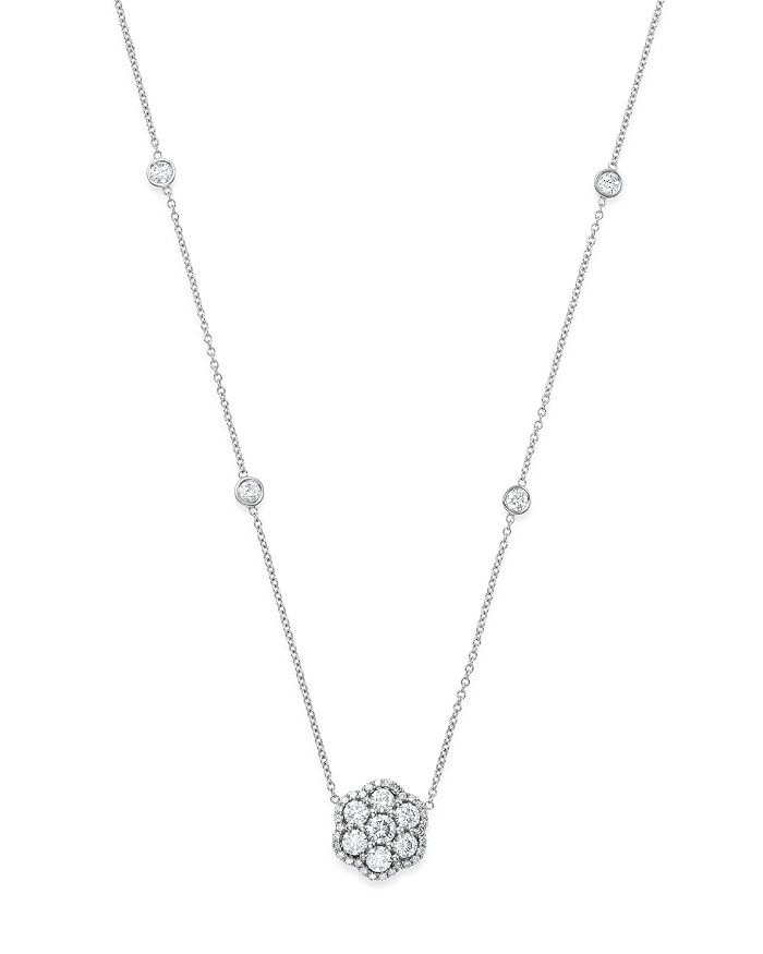 Bloomingdale's DIAMOND FLOWER CLUSTER PENDANT NECKLACE IN 14K WHITE GOLD, 1.50 CT. T.W.
