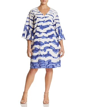 New Lafayette 148 New York Plus Holly Printed-Silk Dress, White Multi