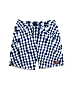 Vineyard Vines Boys Gingham Flag Whale Swim Trunks  Little Kid Big Kid