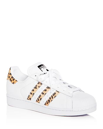 Adidas - Women's Superstar Leather & Leopard Print Lace Up Sneakers