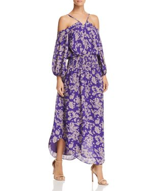 Manuela Cold-Shoulder Maxi Dress in Royal Purple Combo