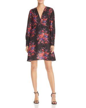 Mcq Alexander Mcqueen Floral Printed Dress, Black