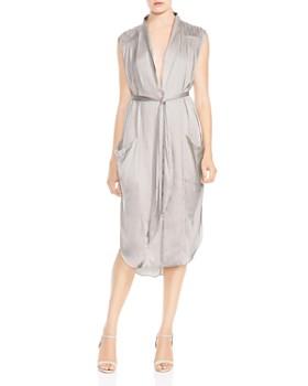 HALSTON HERITAGE - Ruched Pocket Shirt Dress