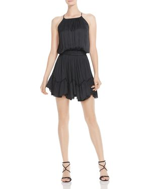 Halston Heritage Ruched Flounced Mini Dress 2941514
