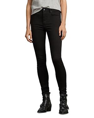 Allsaints Stilt High-Rise Skinny Jeans in Jet Black