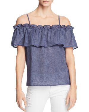 COLD-SHOULDER RUFFLE CHAMBRAY TOP