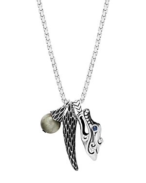 John Hardy Sterling Silver Legends Naga Eagle Eye & Dragon Charm Pendant Necklace with Sapphire Eyes, 26-Jewelry & Accessories
