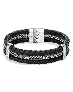 John Hardy Sterling Silver Classic Chain Triple Row Black Leather Bracelet - Bloomingdale's_0