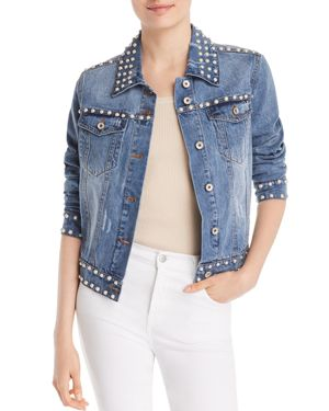 PEARLY-EMBELLISHED DENIM JACKET