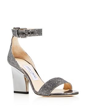 Jimmy Choo - Edina 85 Glitter Cutout Wedge Sandals