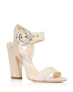 Jimmy Choo - Women's Mischa 100 Raffia & Leather High-Heel Sandals
